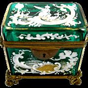 Unusual  Antique French 19th Century Emerald Green  Casket.