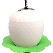 Antique French Opaline 'Apple' Shaped Box with Silver Finial.