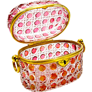 Antique Baccarat Cranberry and Clear Hobnail Cut Casket with Dore Bronze Loop Handles.
