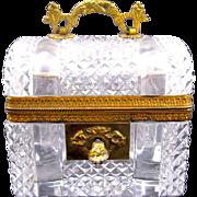 "Antique Baccarat Cut Crystal Glass ""Chest"" Casket Box"