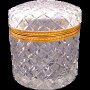 Antique Baccarat Oval Cut Crystal Casket Box