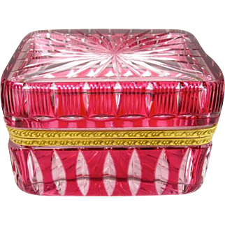 Antique French Cranberry and Clear Glass Casket Box