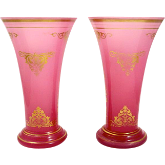 Pair Antique French Pink Opaline Glass Vases