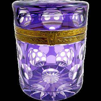 Antique Purple and Clear Glass Casket Box.