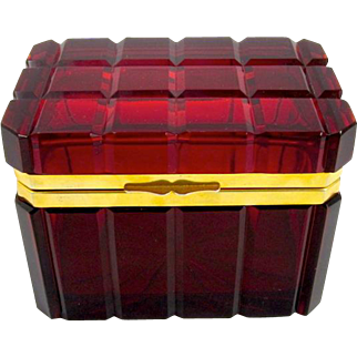 Antique French Deep Ruby Red Glass Casket Box.