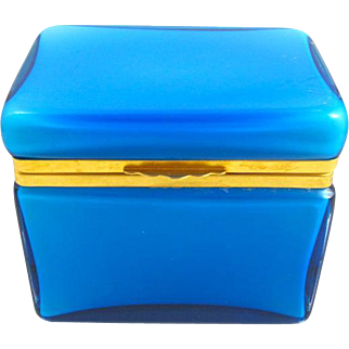 Italian Murano Blue Casket Box