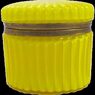 Antique Rare Yellow Opaline Glass Casket Hinged Box.