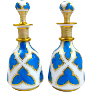 Pair Tall French 19th Century Blue and White Opaline Glass Perfume Bottles and Stoppers.