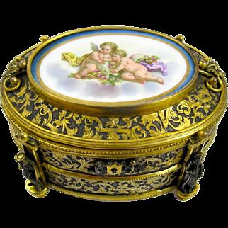 High Quality Signed Porcelain & Bronze Box