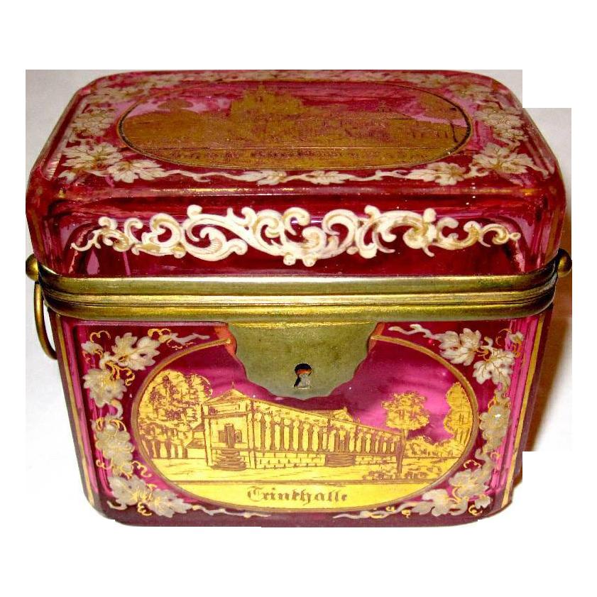 Bohemian 19th Century Cranberry Engraved box