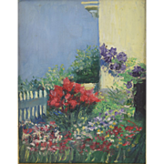 Antique Eugenie M. Heller (American 1867-1952) Impressionist Garden/Flower Painting c1900.. Friend of Mary Cassatt