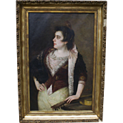 "Jose Alarcon-Suarez (Spanish 19C) Large Portrait Painting of Lady/Senorita with Guitar 25.5"" x 39.5"""