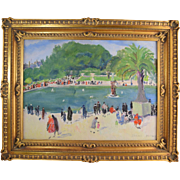 Isabel Hickey (American 1872-1931) Pennsylvania Impressionist Artist French Park Scene Riviera Painting
