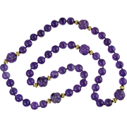 "Gorgeous! 34"" Genuine Amethyst 13mm Bead Necklace w/Carved 17.5mm Amethyst Beads & 14K Spacers.. 187.6 Grams!"