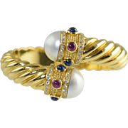 18K YG Cable Bypass Cuff Bracelet Diamonds Mabe Pearls Sapphires Rubies 51.5g Stunning!