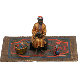 Excellent Antique Vienna Bronze of Seated Arab on Carpet  with Books and Hookah.