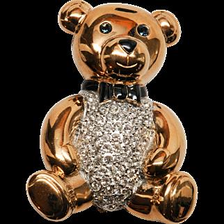Charming Goldtone Carolee Rhinestone Teddy Bear Brooch