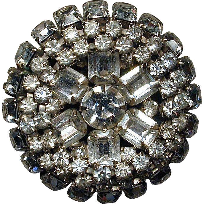 Big Round Deep Vintage Clear Rhinestone Pin - A Dazzler