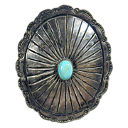 Vintage Navajo Native American Sterling CONCHO Pin w/ Turquoise