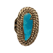Vintage Navajo Handwrought Sterling Silver & Turquoise Ring