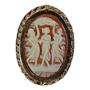 Dancing Three Graces Carved Cameo Pin Pendant 14k Yellow Gold