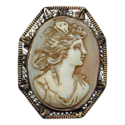 Antique Victorian 14K Gold Goddess Cameo Pendant Brooch