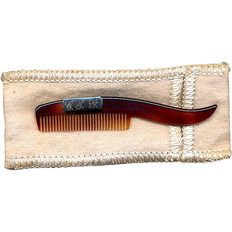 Vintage Faux Tortoise Shell & Sterling Mustache Comb