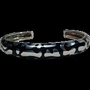 Modernist Sterling Silver & Black Enamel Cuff Bracelet