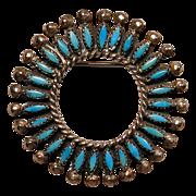 Vintage ZUNI Indian Petit Point Turquoise Sterling Silver Circle Pin