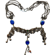 Exotic Old Sterling Silver Jeweled Dangles Necklace w/ Afghan Lapis