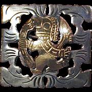 Vintage Peruvian Sterling Silver 18K Gold Bird Pin Brooch