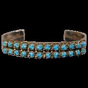 Signed 1970s Zuni Sterling & Sleeping Beauty Turquoise Cuff Bracelet