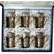 Vintage Etched 900 Silver & Glass Set of Demitasse Cups