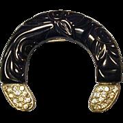 Vintage Art Deco Carved Black Bakelite & Rhinestone Pin