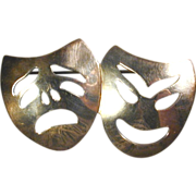 Mexican Stylized COMEDY TRAGEDY Sterling Silver Pin