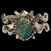 Old Navajo Sandcast Silver Bracelet w/ Big Green Turquoise Stone