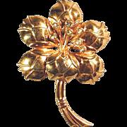 Art Deco  Sterling Silver Vermeil Big Flower Pin w/ Rhinestones