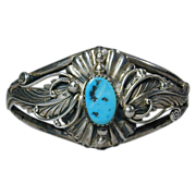 Vintage Navajo Sterling Silver & Turquoise Cuff Bracelet