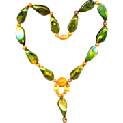 Big Old Genuine Bakelite Bead Necklace Two Colors One Great Look
