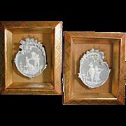 Pair of Old German Jasperware Plaques In Shadow Box Frames