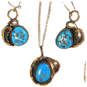 Navajo Paul Frank Sterling & Turquoise Pendant - Earrings Set w/ Gilt