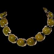 Vintage Great Big Balls of Sour Green Bakelite Choker Necklace
