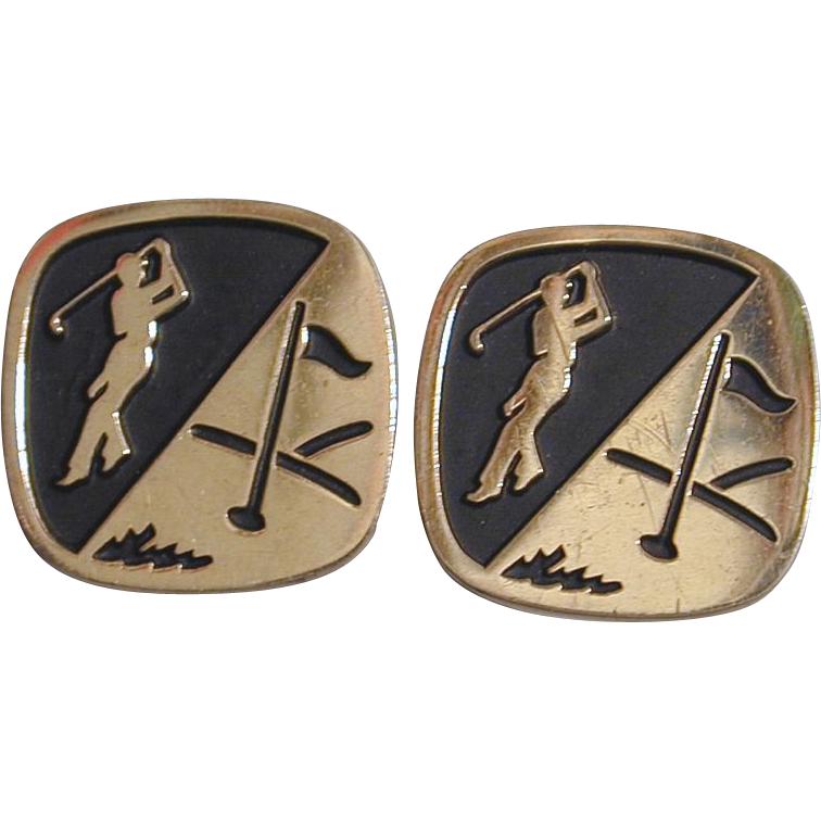 1950s GOLFER Silvertone & Black Golf Cufflinks