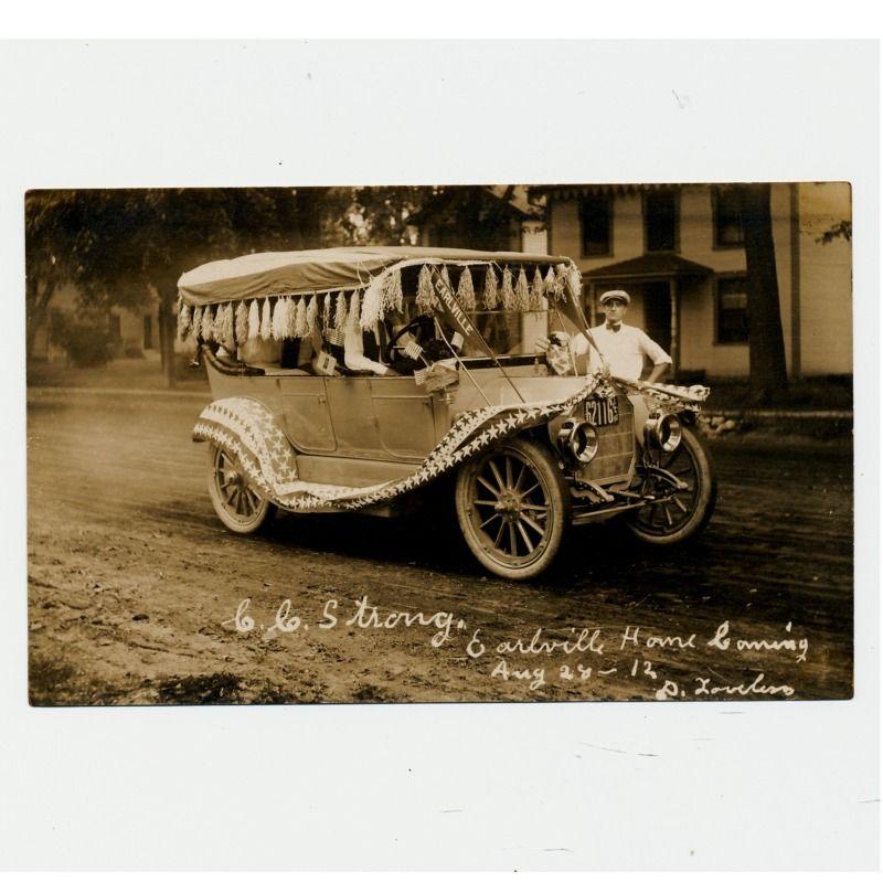Unused 1912 Real Photo Postcard Parade Car Earlville Illinois