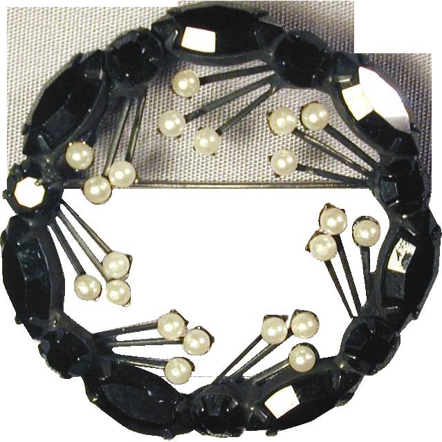 Vintage Jet Black Rhinestone Pin w/ Faux Pearl Sprouts