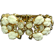 Gorgeous c1940s Rhinestone Clamper Bracelet w/ Molded Glass