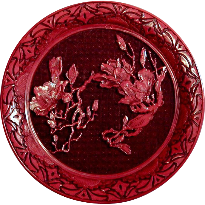 Vintage Red Cinnabar Chinese Lacquer Plate - Deep Carved Floral