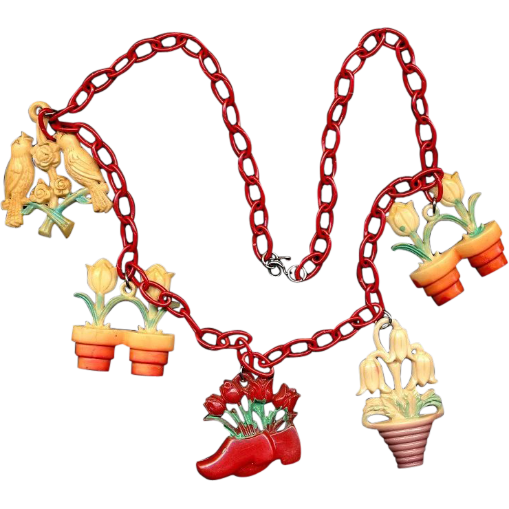 Very Fun Necklace of 1940s Celluloid Shade Pulls - Figurals