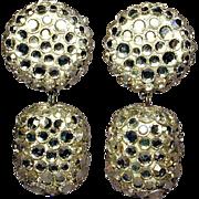 Glittery 1980s James ARPAD Disco Ball Rhinestone Earrings