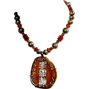 Vintage Chinese Agate & Sterling Silver Amulet Necklace